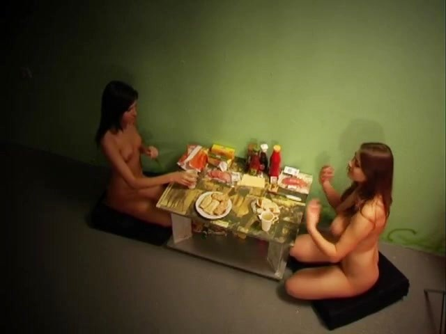 Naked amateurs having dinner on they will floor