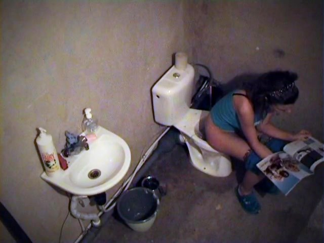 charming girl spied pissing on the toilet