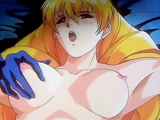 Blonde hentai anime girl masturbating