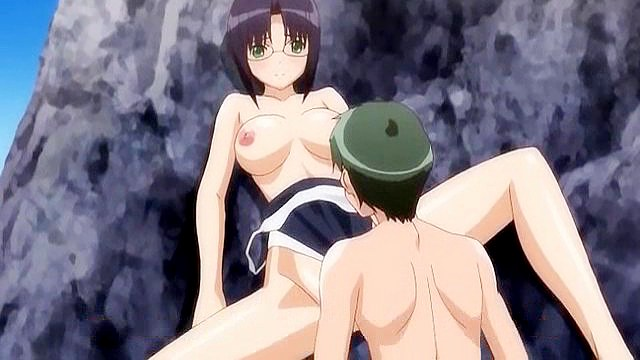 Anime swimsuit girl has sex on the beach