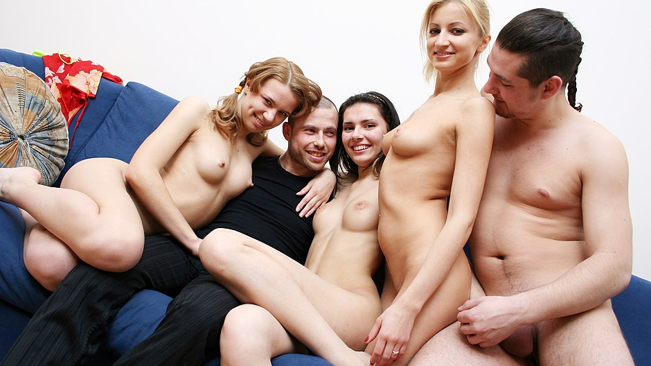 Sexhungry blonde babe enjoys hot college orgy