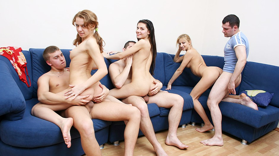 Invited student girls work three big hard cocks