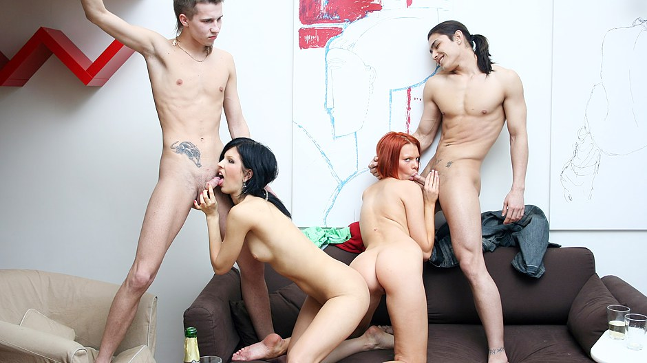 Awesome party bisexual scene with a nasty redhead