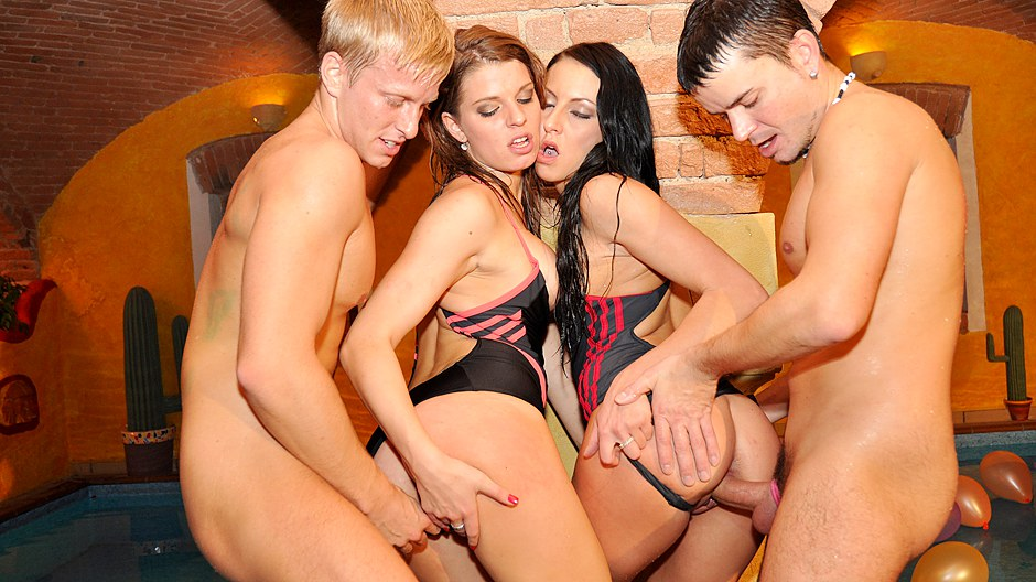 Bday college fucked into ass party in the pool