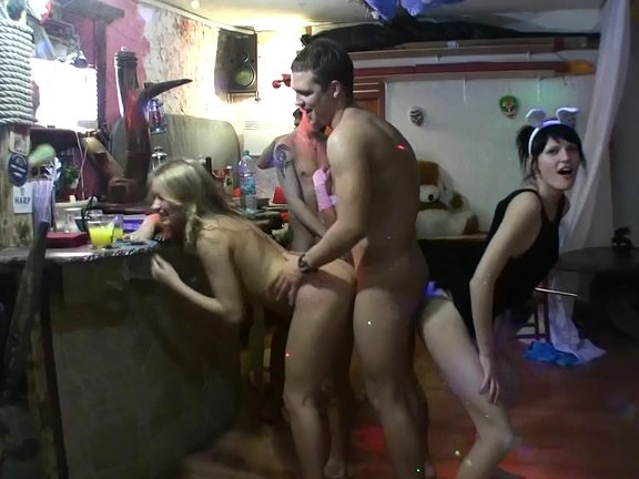 Hot lesbian action at student fuck party