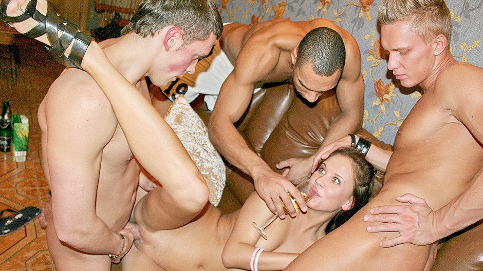 Champagne, nude dancing and group orgy
