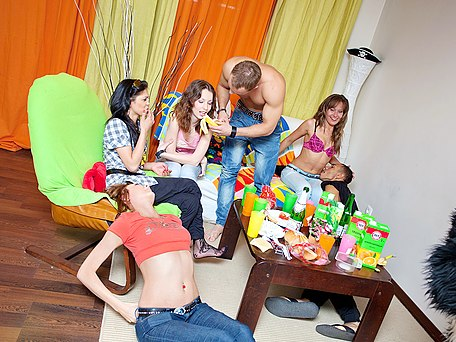 Horny coeds have wild sex at party