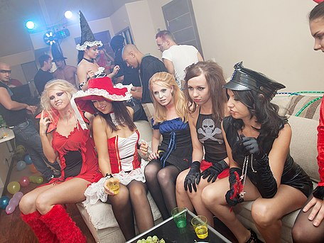 girls in hot costumes fuck at party