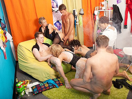 Sexy students in nylon party