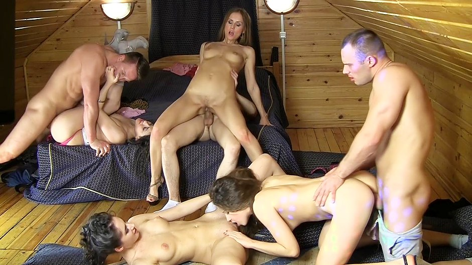 Lovely nubiles sluts enjoy a wicked college anal orgy