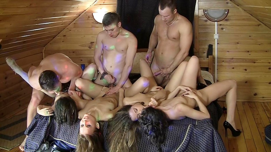 Adorable college girls getting slammed die hard during an orgy