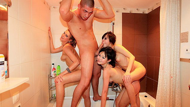 Bathroom orgy at student party