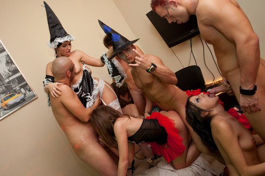 Halloween sex party with horny students