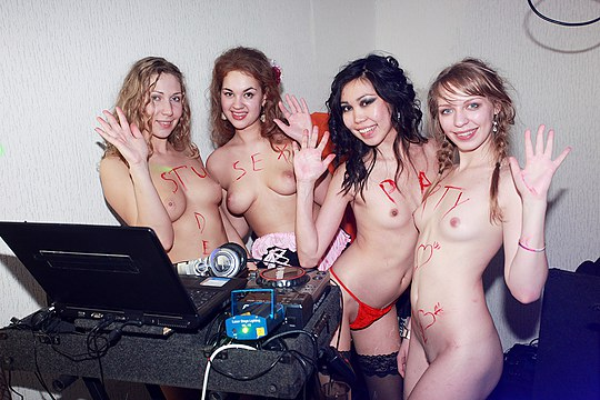 Dancing, stripping and group fuck 