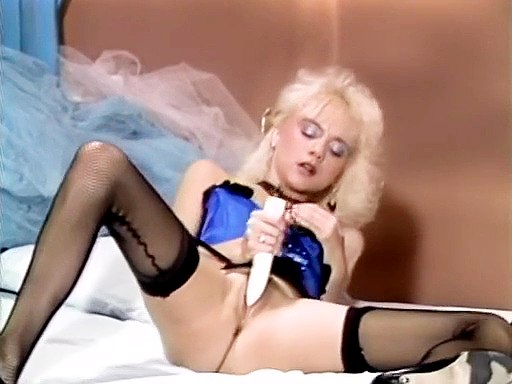Blonde in hot lingerie dildo plays